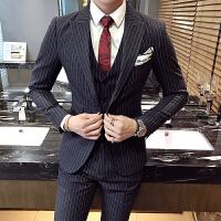 新款秋冬条纹西服三件套韩版单排扣新郎结婚西装礼服套装复古酒红