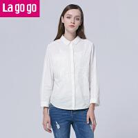 Lagogo/拉谷谷春季新款纯色POLO领休闲长袖衬衫FAA641G423限时抢,满额减