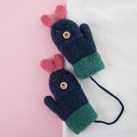 2018冬季新款可爱兔宝宝双层保暖舒适针织儿童包仔连指手套