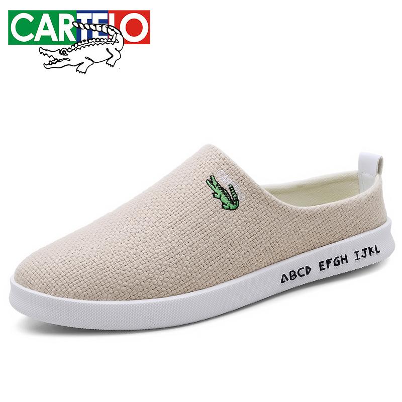 卡帝乐鳄鱼男鞋帆布鞋韩版时尚一脚蹬休闲布鞋亚麻布鞋男男士懒人鞋套脚透气鞋子