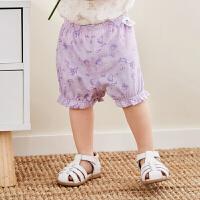 【2件3.8折】迷你巴拉巴拉女宝宝短裤2019夏季新品婴儿新生儿印花灯笼裤子