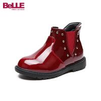 【3折价:146.7元】百丽Belle童鞋18冬季新款朋克风铆钉靴子简约时尚亮面靴女童加绒保暖侧拉链短靴(5-15岁可