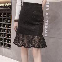 蕾丝半身裙包臀裙高腰大码镂空勾花修身显瘦气质鱼尾裙春夏季短裙 黑色