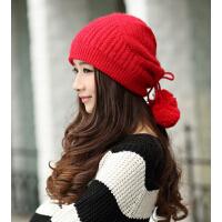 冬天  双层加厚兔毛帽子韩版秋冬季毛线帽 贝雷帽潮