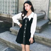 2019春秋流行新款韩版修身显瘦气质假两件裙子套装连衣裙女 黑色连衣裙假两件