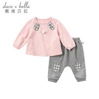 [限时3折价:104.1]戴维贝拉秋新款女童套装宝宝卡通套装DBM8178