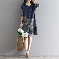 春装新款时尚高档羊绒文艺复古大码宽松印花打底裙长袖连衣裙