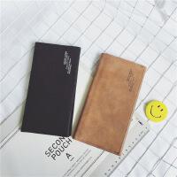 港风新款韩国原创磨砂长款男包钱包皮夹简约款字母单色钱包潮