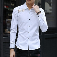新款2018男士长袖男士个性长袖衬衫春季白衬衫男士长袖衬衣修潮流