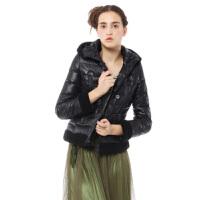 yaloo/雅鹿羽绒服女短款 欧美风仿羊羔毛连帽修身外套时尚冬装