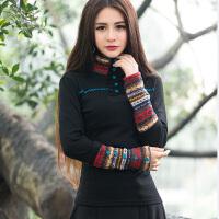 中国风原创 民族风女装T恤 高领羊毛绒长袖上衣拼接毛线打底衫女