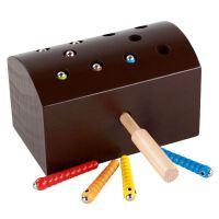 抖音啄木鸟抓虫游戏儿童磁性捉毛毛虫钓鱼玩具1-2-3岁男女孩 巧克力色 款F59