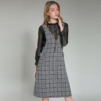 女装秋冬套装时尚新款长袖蕾丝衫V领千鸟格连衣裙两件套