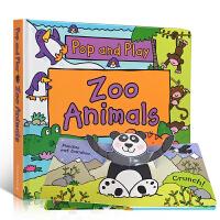 英文原版 Pop and Play Zoo Animals TEM科普 动物园纸板立体书 边玩边学儿童启蒙亲子互动阅读