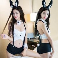 新款情趣睡衣内衣可爱兔女郎猫女服制服诱惑套装性感修身连体衣冬 +黑网袜 均码
