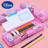 迪士尼男小学生多功能铅笔盒女冰雪爱莎白雪公主儿童米奇米妮笔袋幼儿园塑料铅笔盒1-3年级创意文具盒可爱