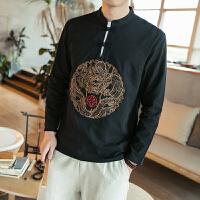 秋季新款中国风时尚男装潮男立领修身大码长袖T恤男士打底衫上衣