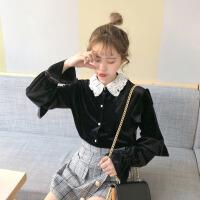 春装韩版蕾丝拼接翻领荷叶袖长袖丝绒衬衫休闲学生打底衬衣上衣女 黑色 均码