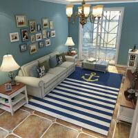 地中海蓝色美式北欧式地毯客厅茶几垫地毯卧室床边毯满铺现代简约