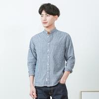 春季日系水洗竖条纹长袖立领宽松纯棉衬衫潮流青少年男士休闲衬衣