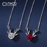"""【一""""鹿""""有你 甜美小巧】T400单颗锆石S925银项链 女王节生日礼物送女友 红色 B2781"""