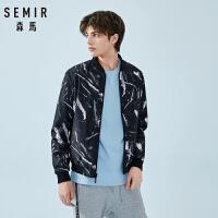 森马夹克男春装棒球领飞行员夹克男士2019新款韩版双面穿外套潮