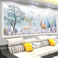十字绣线绣客厅简约现代卧室十字绣麋鹿北欧式大幅简单绣