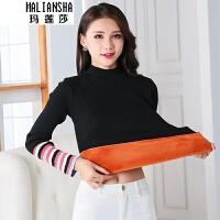 玛莲莎2018年韩版加绒加厚保暖毛衣针织衫女装上衣