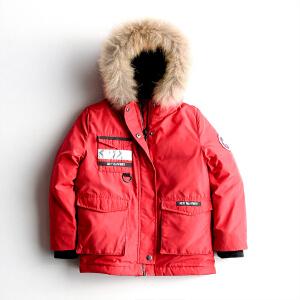 yaloo/雅鹿羽绒服中长款冬季新款男女儿童冬装中大童连帽外套