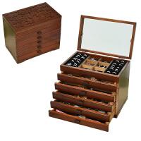 首饰盒化妆盒首饰收纳盒饰品盒公主手饰收纳盒结婚礼物 带镜款