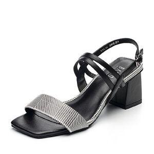 BASTO/百思图2018夏季专柜同款羊皮革格纹一字带粗跟女凉鞋RNL14BL8