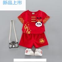 中国风男宝宝唐装夏季衣服装男童套装女复古装婴儿童百岁周岁礼服