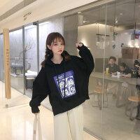 韩系女装新款原宿风bf秋冬季加绒加厚卡通宽松连帽套头卫衣女学生 均码