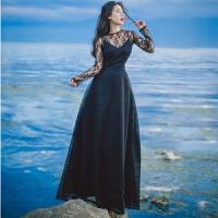 春季蕾�z�U空�L袖�n版�Y服裙黑色�@瘦�杉�套仙女修身度假��真�L裙 黑色