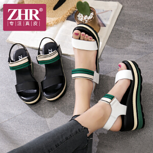 ZHR2018夏季新款韩版坡跟凉鞋百搭鞋子学生简约高跟鞋松糕女鞋潮M205