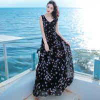 夏季新品女装V领裙子无袖雪纺连衣裙长裙波西米亚海边度假沙滩裙 黑色 X246 X