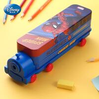 迪士尼文具盒男小学生女多功能儿童铁笔盒小汽车巴士铅笔袋幼儿园带笔削创意个性大容量双层火车头铅笔盒