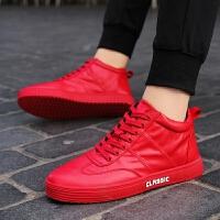 DAZED CONFUSED 潮牌红色高帮鞋男韩版潮流休闲鞋精神子板鞋保暖红鞋