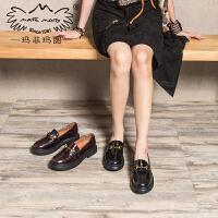 玛菲玛图小皮鞋女秋季新款中跟厚底单鞋英伦复古手工牛皮马衔扣乐福687-8W