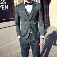 新品18春装新款男士潮流韩版修身提花西服套装青年档免烫西装三件