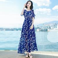 夏季新品女装露肩短袖雪纺长裙连衣裙波西米亚海边度假沙滩裙 图片色X627