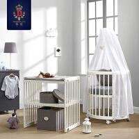 欧式婴儿床宝宝婴儿圆床新生儿双胞胎多功能实木床可拼接大床