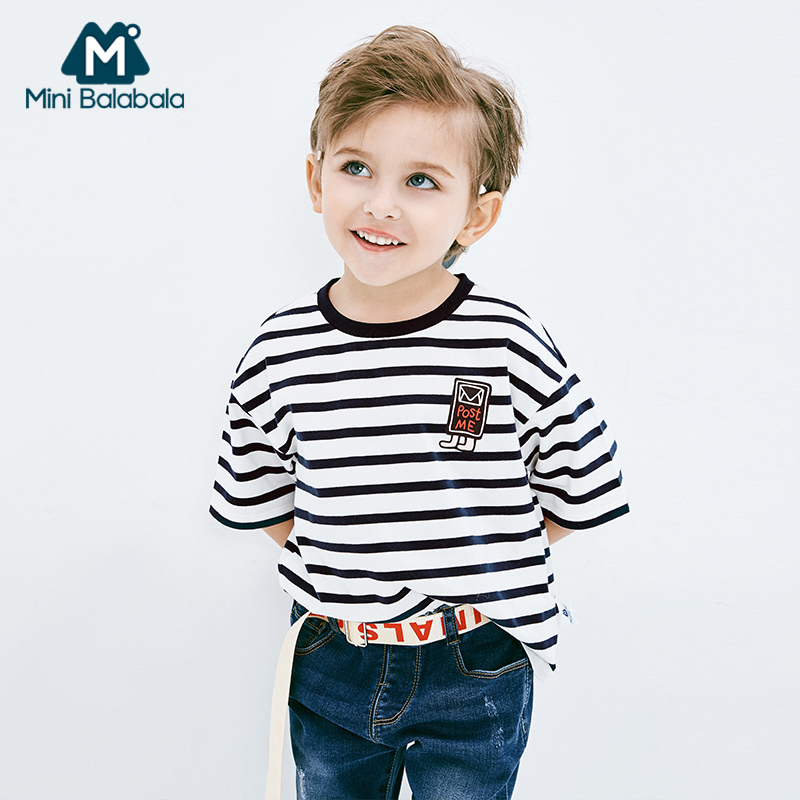 【满200减130】迷你巴拉巴拉男童条纹短袖T恤2019年夏装新款幼童宝宝可爱体恤衫
