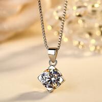 S925银项链女简约耀光吊坠时尚锁骨链银首饰品生日礼物