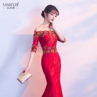 一字肩敬酒服2018新款秋季女蕾丝红色新娘结婚晚礼服修身鱼尾长款