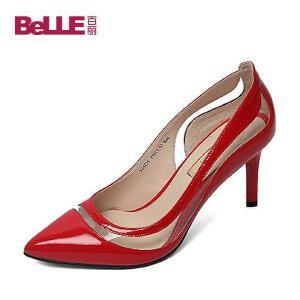 Belle/百丽春季专柜同款漆皮牛皮OL通勤优雅细高跟女单鞋3Z4D5AQ6专柜1高跟鞋