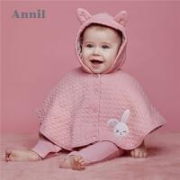 【3件3折:80.7】安奈儿童装女婴童防风外套秋冬装新款洋气时尚宝宝外套连帽潮
