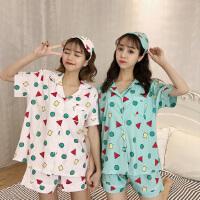 蜡笔小新睡衣同款短袖三件套夏季几何图案印花短裤套装韩国家居服