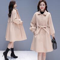 斗篷毛呢外套女中长款韩版宽松显瘦秋冬大码红色呢子大衣
