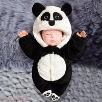 冬季男初生婴儿连体衣服新生宝宝套装秋冬外出0抱衣3加厚保暖6七个月秋冬新款 熊猫宝宝